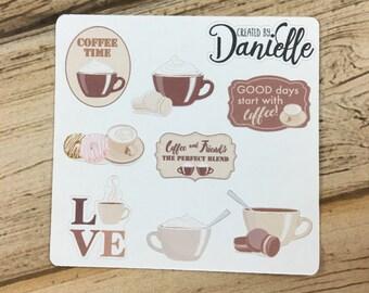 Coffee Planner Sticker Sampler, Coffee Lover Stickers, Coffee Cup Planner Stickers, set of 8
