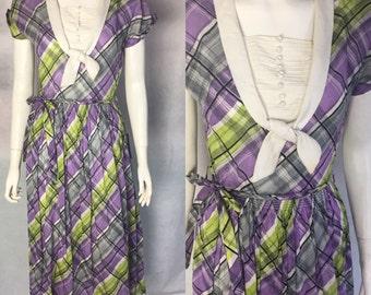 SALE! Early 1940s plaid cotton dress