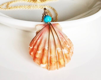 Necklace Nani - Sunrise shell necklace - petite orange sunrise shell necklace - shell and turquoise necklace - sunrise shell (N105)