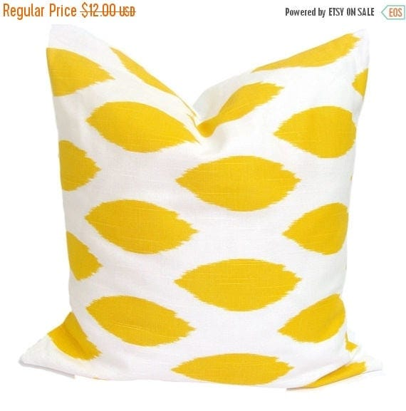 YELLOW PILLOW SALE.18x18 inch.Pillow Cover.Decorative Pillows.Yellow Pillow Covers.Housewares.Yellow Pillow.Cushion.Ikat Pillow.Yellow