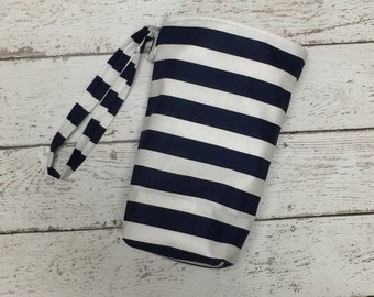 SALE Navy Stripes Car Trash bag with LINER, use with lunch bag for easy quick empty and no mess