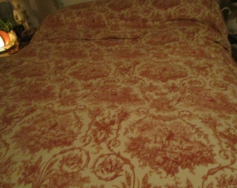 Beautiful Vintage Toile Bedspread, Yardage, Full size