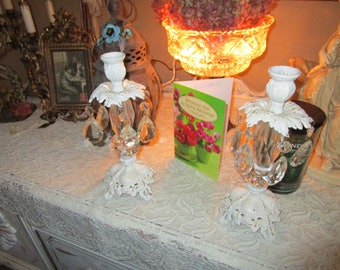 Gorgeous Vintage Metal and Crystal Candlesticks, Shabby Chic, French country