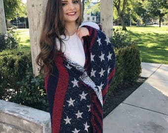 American flag scarf scarves, Boho American flag clothing cowgirls scarf, women wraps shawls, Best selling items, soft winter scarf, PiYOYO