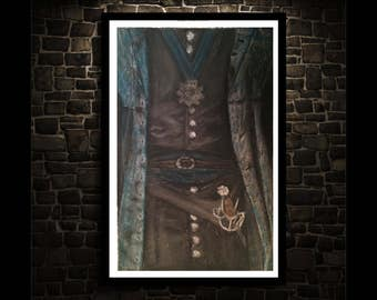 Lady Elizabeth Pastel Drawing Infamous 17th c. Female Pirate Giclee Art Print Original Drawing -Limited Edition