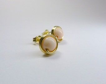 Natural Pink Conch Studs in 14K Gold Filled