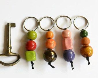 Small handmade gift, Keyring, Bead Keyring, handmade gift, stocking filler, mothers day gift, token gift, small gift, bead keyring