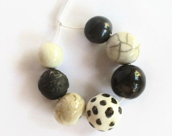 African clay beads, Handmade Ceramic Beads, African beads, black and white beads, Clay beads, Artisan Beads,  bead supplies, handmade
