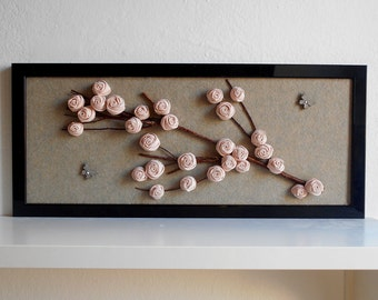 Floral home decor Flowery branch fabric flowers framed 3d wall art