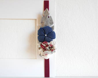 Jeans hairband Headband with denim flower and fabric rosette