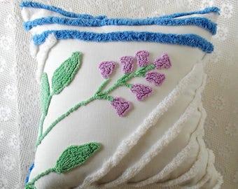 Chenille Pillow, Vintage Chenille, Accent Pillow, Cotton Pillow, Nursery Pillow, Throw Pillow, Decorative Pillow, Chic Pillow, Pillow #A9
