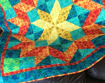 Homemade quilt, Quilted wallhanging, Baby quilt, Quilted table cloth, Bright quilt, Star quilt, Lap quilt, Blankets and throws