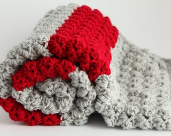 Grey and red  handmade extra thickness  crochet baby blanket/shawl.Choice of colours. Ideal Christening / shower /new baby  gift.