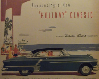 1952 OLDSMOBILE NINETY-EIGHT Holiday Coupe Rocket Original Vintage Automobile Ad Antique Cars Additional Ads Ship Free Ready To Frame