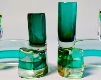 Vintage MCM Murano Glass Cat Candle Holders - Antonio da Ros