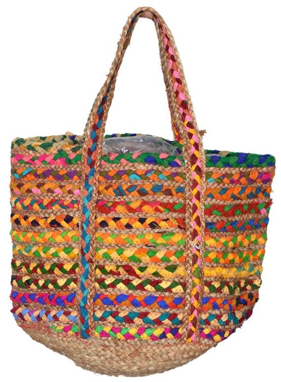 Handmade Jute Baskets : Handmade jute basket with recycled cotton ping bag market