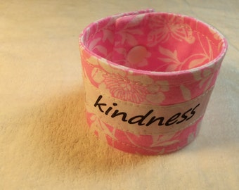 Words of Inspiration Cuff Bracelet Kindness in Light Pink with White Flower Patterns