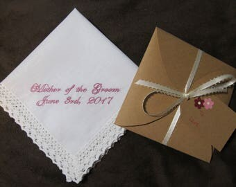 Mother of the Groom - Wedding Handkerchief With Free Gift Envelope - Shown with Light Pink Writing