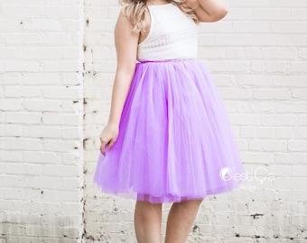 Clarisa - Lilac Tulle Skirt, Light Purple Puffy Princess Tutu, Bridesmaids Skirt, Regular Midi Tulle Skirt, Plus Size Tulle Skirt, Wholesale