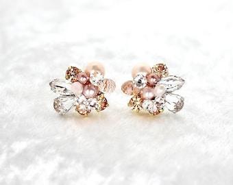 Rose Gold Earrings- Art Deco Bridal Studs- Blush Bridal Studs- Cluster Earrings- Rose Gold Studs- Clip Earrings- Vintage Inspired Studs