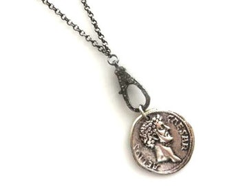 Pave Diamond Lobster Clasp, Roman Coin Necklace/ Boho Necklace/Diamond Necklace