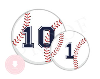 INSTANT DOWNLOAD Baseball Party Circles (6 and 8 inch circles, Baseball Birthday, Baseball Party, Baseball Sign, Navy, Red)