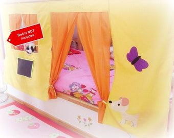 Bunk Bed Playhouse with puppet theater / Bed curtain / Loft bed curtain / Bed tent- free color and design customization