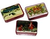 Vintage 80s LILLIAN VERNON Set of Three Victorian Memories Holiday Mini Tins