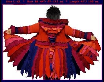 eLf cOAT, elf sweater, brown sweater, hoodie, pixie coat, fairy dress, costume, gypsy coat, patchwork coat, dream coat, ooak, size L - XL
