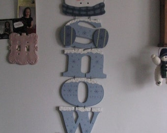 Snowmen wall hanging,  hanging letters, snow, winter, wall hanging, door hanging, wall decor