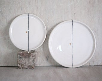 White small plate - Tapas plate - Luncheon plate - Ceramic Handmade Plate - Black and White Dinnerware