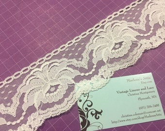 1 yard of 2 1/2 inch White Chantilly lace trim for sewing, crafts, costume, housewares, couture by Marlenes - Item 9MM