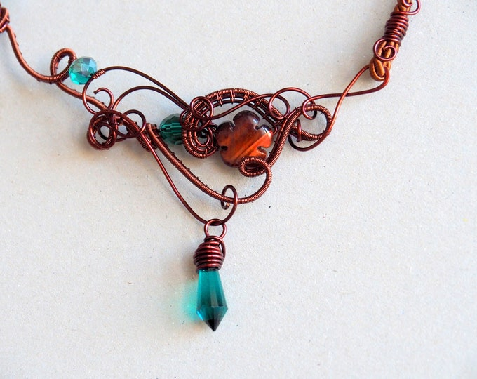 Red Tiger eye necklace Gemstone wire wrapped Emerald green Statement flower Nature jewelry Gift for her Artisan jewelry Artistic