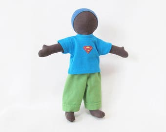 Little dark brown doll with superman shirt, gender neutral doll, multi cultural doll, Eco-friendly toy, waldorf inspired doll