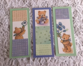 Teddy Bear Book Marks, Upcycled, Laminated Bookmarks, Blue and Green Journal Markers - Set of 3