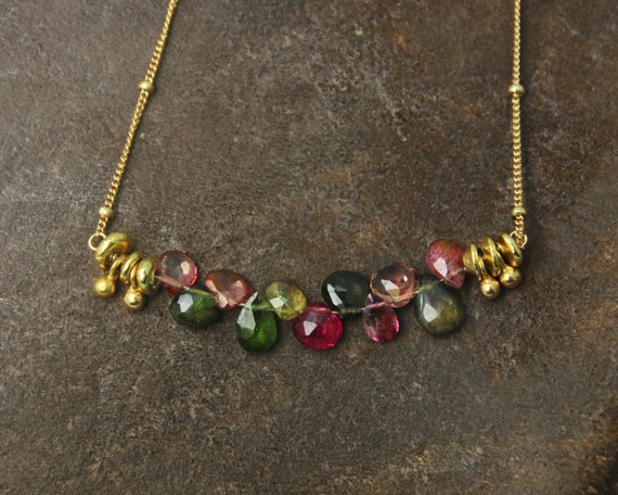 Bar Necklace. Multi Color Necklace. Watermelon Tourmaline Necklace. Tear Drop Necklace. Gemstone Jewelry. NM-2189-2