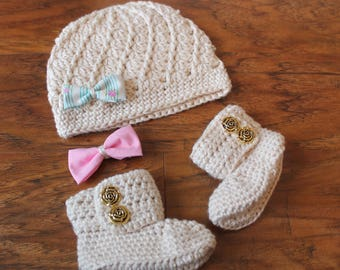 Take Me Home Outfit, Baby Girl Clothes, Newborn, Hat and Bootie Set