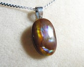 Reserved for Katie ) Mexican Fire Agate Pendant with Sterling Silver 1.1MM Serpentine Chain 18 Inches