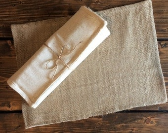 Set of 6-Burlap Placemats With Natural Cotton Fabric Lining- Double Sided/Reversible-Minimalist-Rustic-Country-Farmhouse-Cabin-Chic