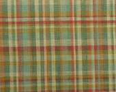 """Linen Plaid Fabric, Linen Blend, Green Plaid Fabric by the Yard, Linen Rayon, Upholstery Fabric, Heavy Fabric - 1 Yard 6"""" - CFL2142"""