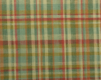 "Linen Plaid Fabric, Linen Blend, Green Plaid Fabric by the Yard, Linen Rayon, Upholstery Fabric, Heavy Fabric - 1 Yard 2"" - CFL2142"