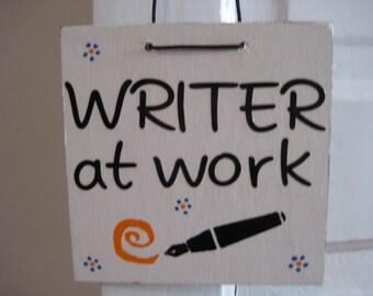 Writer At Work Wooden Sign, Tree Design Door Sign, Writer Door Hanger