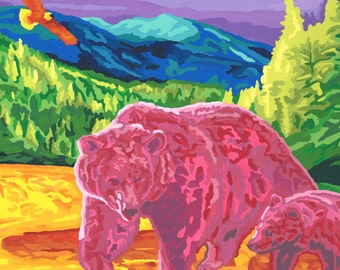 Bears and Eagle Colorful Paint-by-Number Print