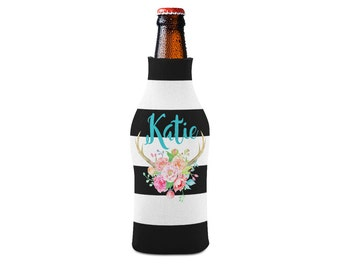 Personalized Bottle Insulator, Black and White Antlers- DIY Custom Bottle Insulated Beverage Container