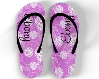 Personalized Flip Flops - Floral Burst - Monogrammed Personalized Flip Flops Custom Flipflops with Monogram