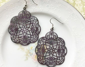 The Annika Earrings: Vintage Inspired Design, Purple Patina Filigree, Dangle Chandelier Earrings, Boho Style, Hypoallergenic