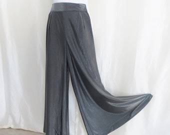 Vintage womens split skirt, palazzo pants, silver metallic, dressy, formal, maxi skirt, high waist