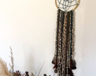 Magic,  Dreamcatcher natural and some coloured feathers, moss earth greens, caramel, brown, colour yarn, twig woven hoop MADE TO ORDER