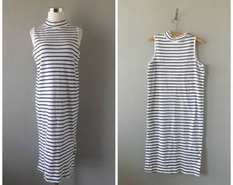 nautical stripe midi dress | vintage 90s knit jersey white navy striped dress size m/medium hipster preppy side buttons 1990s blouse tunic