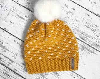 Women's Fair Isle Pom Hat, Faux Fur Pom Hat, Crochet Beanie, Womens Winter Hat, MADE TO ORDER